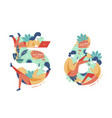 summer seasonal numbers five six and people vector image vector image