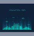 tacoma skyline washington usa linear style vector image vector image