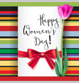 template greeting card with tulip and red bow vector image vector image