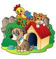 three domestic animals vector image
