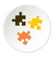 Three puzzle icon flat style vector image vector image