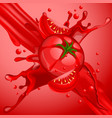tomato juice in motion and splash vector image vector image