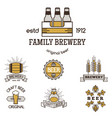 Vintage craft beer retro logo badge design emblems vector image