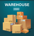 warehouse banner with pile of stacked sealed goods vector image vector image