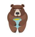 bear and honey barrel cute wild animal and food vector image