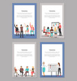 training set of posters with people at conference vector image