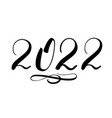 2022 handwriting numbers with black ink isolated vector image