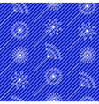 Abstract white flowers over blue strip seamless vector image vector image