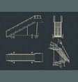 airplane ladder drawings vector image