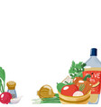 backdrop with salad ingredients banner template vector image vector image