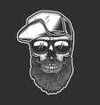 bearded skull in baseball cap in engraving style vector image vector image