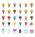 big set of simple outline icons for gelato cafe vector image