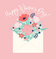 bouquet of spring flowers in the envelope vector image