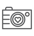 camera line icon photography and love love photo vector image vector image
