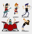 cartoon characters people musicians icon set vector image vector image