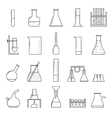 Chemical Test Tubes Thin Line Icon Set vector image vector image