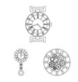 clock and time icon set of vector image vector image