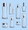 cosmetics glass package realistic set vector image