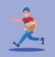 courier runs with parcel vector image vector image