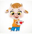 cute cartoon baby calf in orange sweater with cup vector image vector image