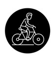 cycling trip black icon sign on isolated vector image