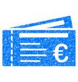 Euro tickets grunge icon vector image