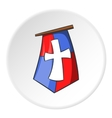 Flag of crusaders icon cartoon style vector image vector image