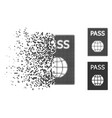 fractured dot halftone passport icon vector image