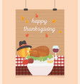 happy thanksgiving poster hanging turkey apple vector image