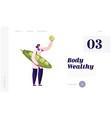 healthy food industry website landing page woman vector image