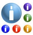 high density bottle icons set vector image