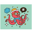 hipster octopus cartoon t shirt design vector image vector image