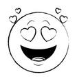 in love chat emoticon sketch vector image vector image