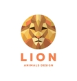Lions Head into a Polygon design style Logos vector image vector image