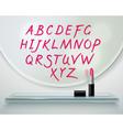 Lipstick Alfabet Shelf Mirror Realistic vector image vector image