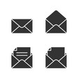 mail black icons set on white vector image