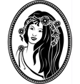 Medallion vignette portrait of a girl in a wreath vector image vector image