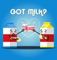 milk cartons drinking milk and cracker vector image