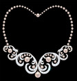 necklace with pearls and diamonds vector image vector image