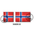 norway or norwegian flag pattern postage stamp vector image
