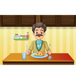 Old man eating in the dining room vector image vector image
