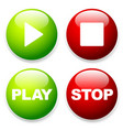 play stop buttons with symbols and texts vector image