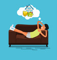 poor man lying on the couch vector image vector image