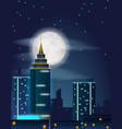 poster design with night city buildings vector image vector image