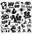rap doodles set vector image vector image