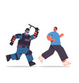 riot police officer attacking street protester vector image vector image