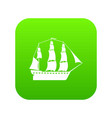 sailboat icon green vector image