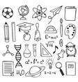 school education sketch drawing icons hand drawn vector image vector image