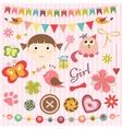 Scrapbook baby girl set vector image vector image