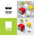 Set of square heads vector image vector image